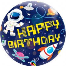 "Birthday Outer Space Bubble Balloon (22"") 1pc"
